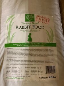25 lbs Timothy based rabbit food