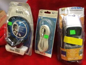 Pair of Dymo Handheld Label Makers and Misc. Electronics